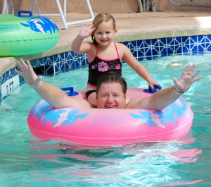 Dad & Hope In The Lazy River Parade!